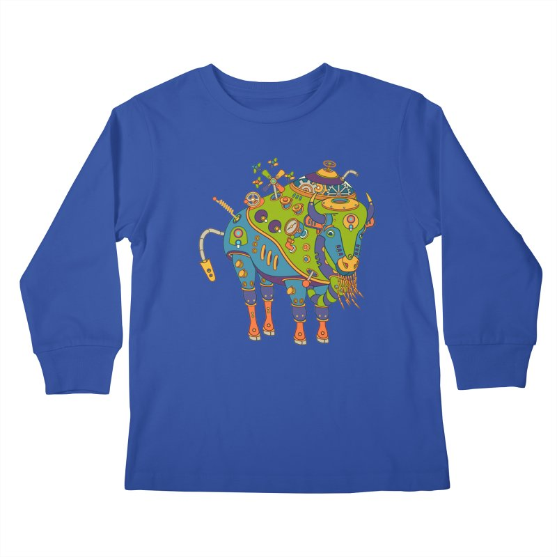 Bison, cool wall art for kids and adults alike Kids Longsleeve T-Shirt by AlphaPod