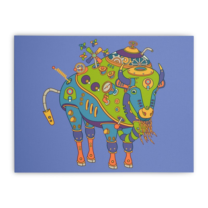 Bison, cool wall art for kids and adults alike Home Stretched Canvas by AlphaPod