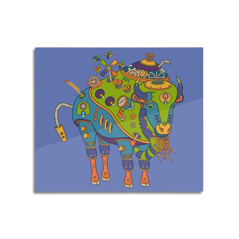 Bison, cool wall art for kids and adults alike Home Mounted Aluminum Print by AlphaPod
