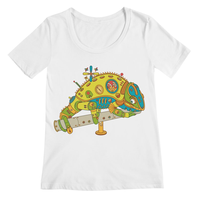 Chameleon, cool art from the AlphaPod Collection Women's Scoopneck by AlphaPod