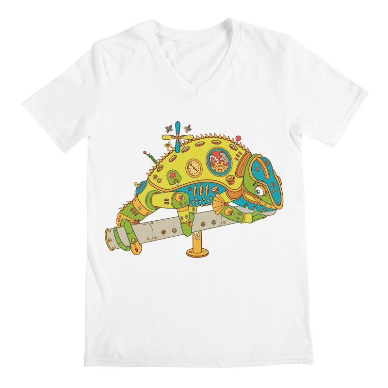 Chameleon, cool art from the AlphaPod Collection Men's V-Neck by AlphaPod