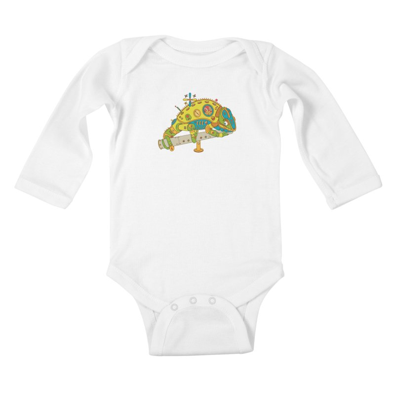 Chameleon, cool art from the AlphaPod Collection Kids Baby Longsleeve Bodysuit by AlphaPod