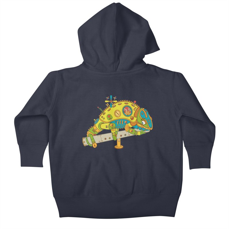 Chameleon, cool wall art for kids and adults alike Kids Baby Zip-Up Hoody by AlphaPod
