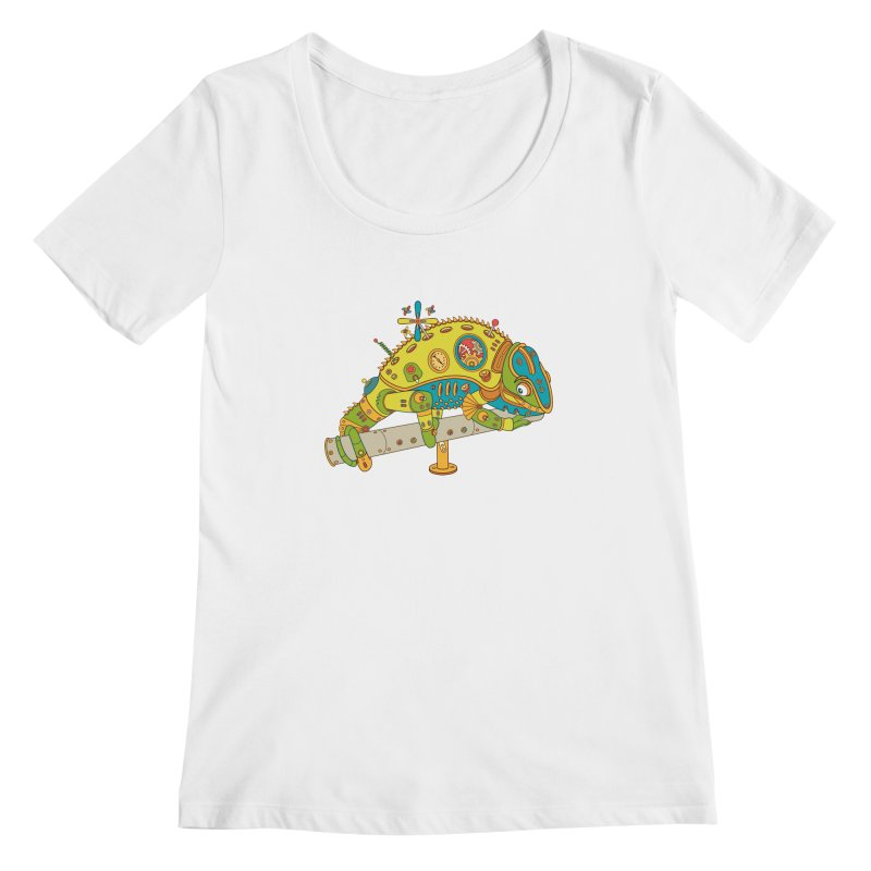 Chameleon, cool wall art for kids and adults alike Women's Scoopneck by AlphaPod