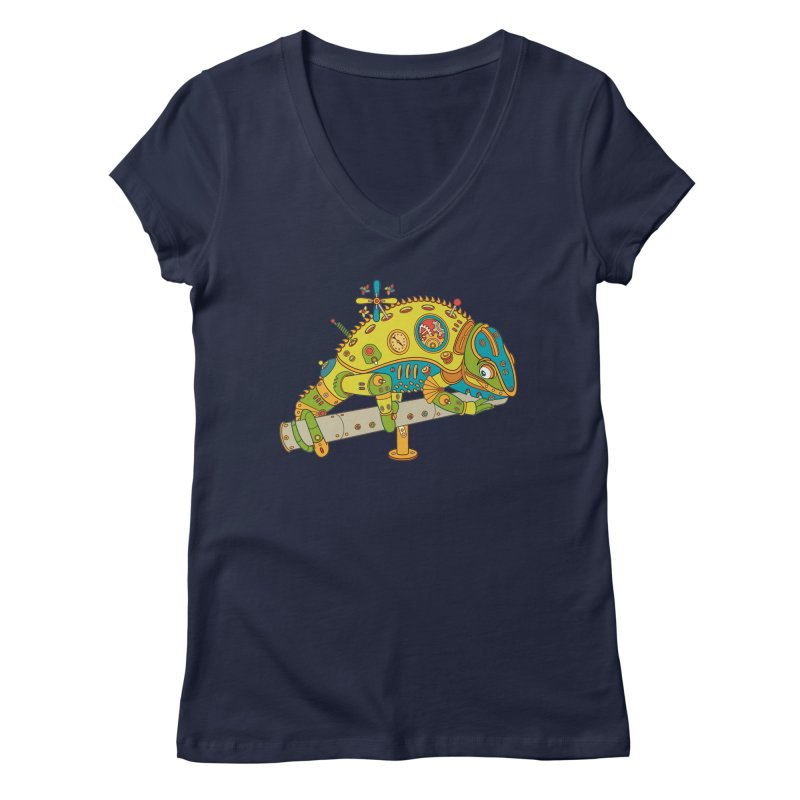 Chameleon, cool wall art for kids and adults alike Women's V-Neck by AlphaPod