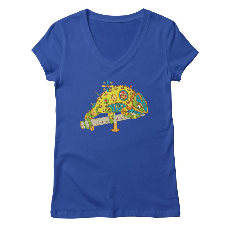 Chameleon, cool art from the AlphaPod Collection Women's V-Neck by AlphaPod