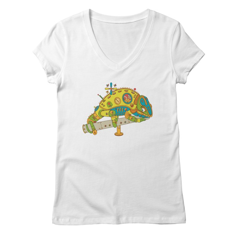 Chameleon, cool art from the AlphaPod Collection Women's Regular V-Neck by AlphaPod