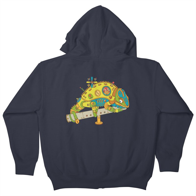 Chameleon, cool wall art for kids and adults alike Kids Zip-Up Hoody by AlphaPod