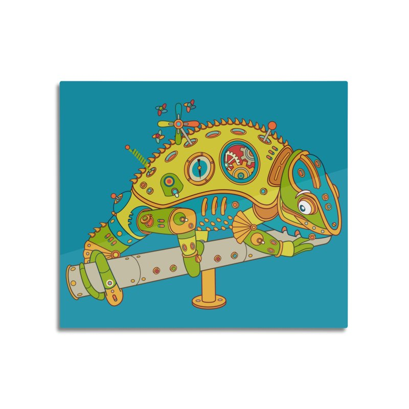Chameleon, cool wall art for kids and adults alike Home Mounted Aluminum Print by AlphaPod