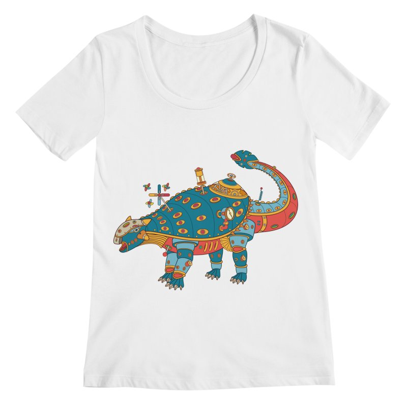 Dinosaur, cool art from the AlphaPod Collection Women's Scoopneck by AlphaPod