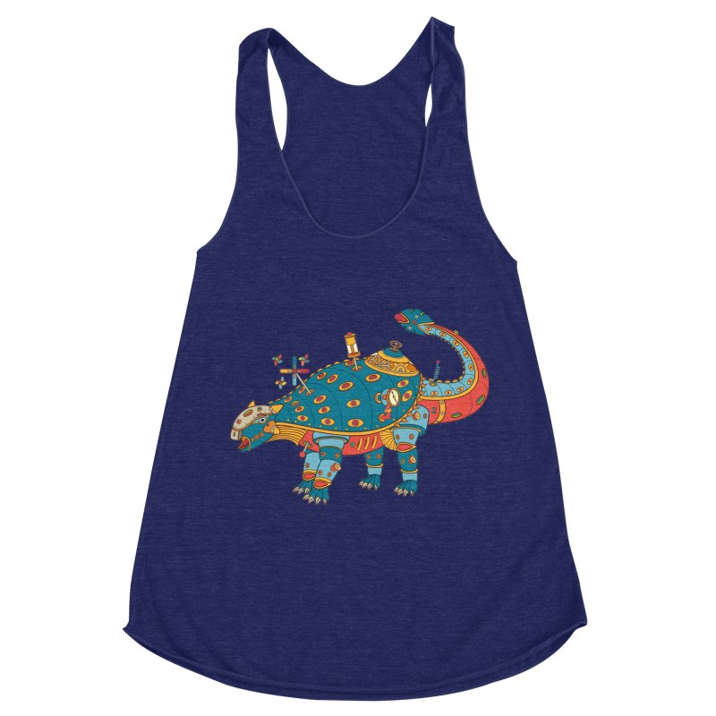 Dinosaur, cool art from the AlphaPod Collection Women's Racerback Triblend Tank by AlphaPod