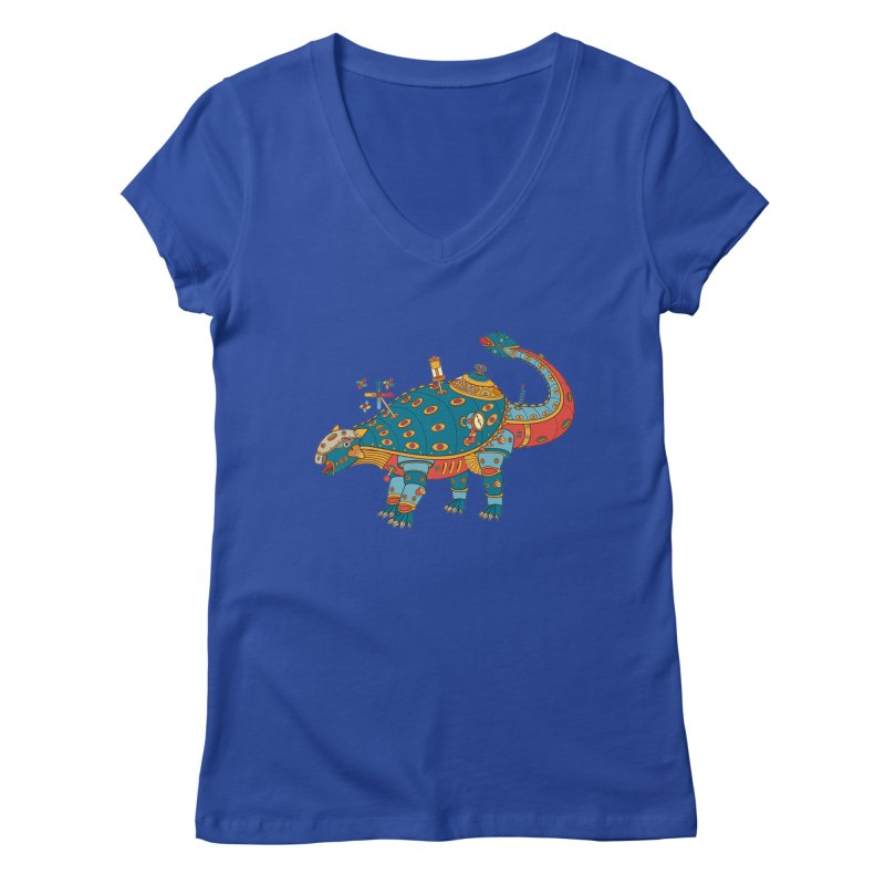 Dinosaur, cool art from the AlphaPod Collection Women's V-Neck by AlphaPod
