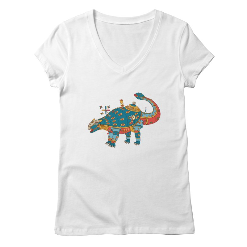 Dinosaur, cool art from the AlphaPod Collection Women's Regular V-Neck by AlphaPod