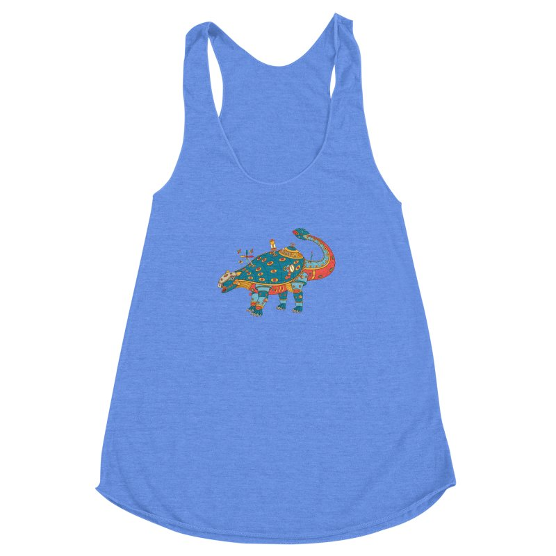 Dinosaur, cool wall art for kids and adults alike Women's Racerback Triblend Tank by AlphaPod