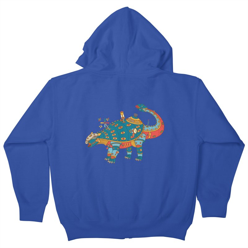 Dinosaur, cool wall art for kids and adults alike Kids Zip-Up Hoody by AlphaPod