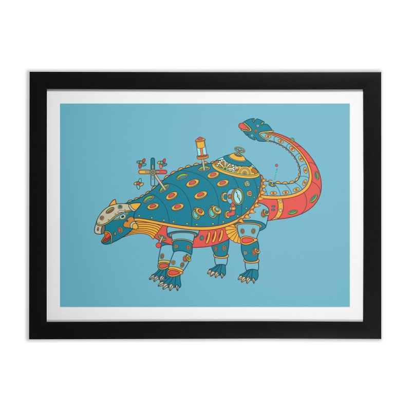 Dinosaur, cool art from the AlphaPod Collection Home Framed Fine Art Print by AlphaPod