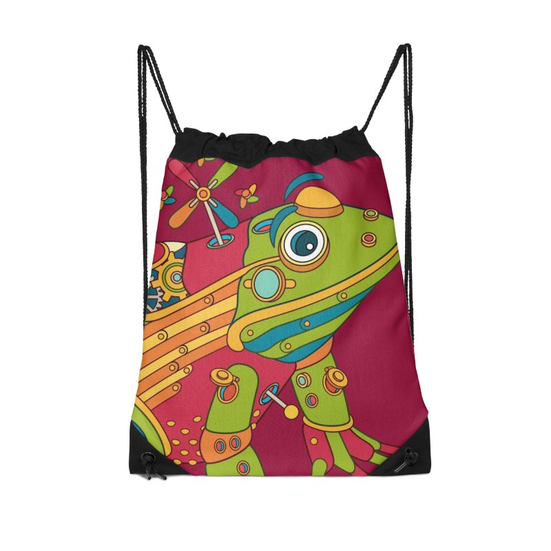 Frog, cool art from the AlphaPod Collection Accessories Drawstring Bag Bag by AlphaPod