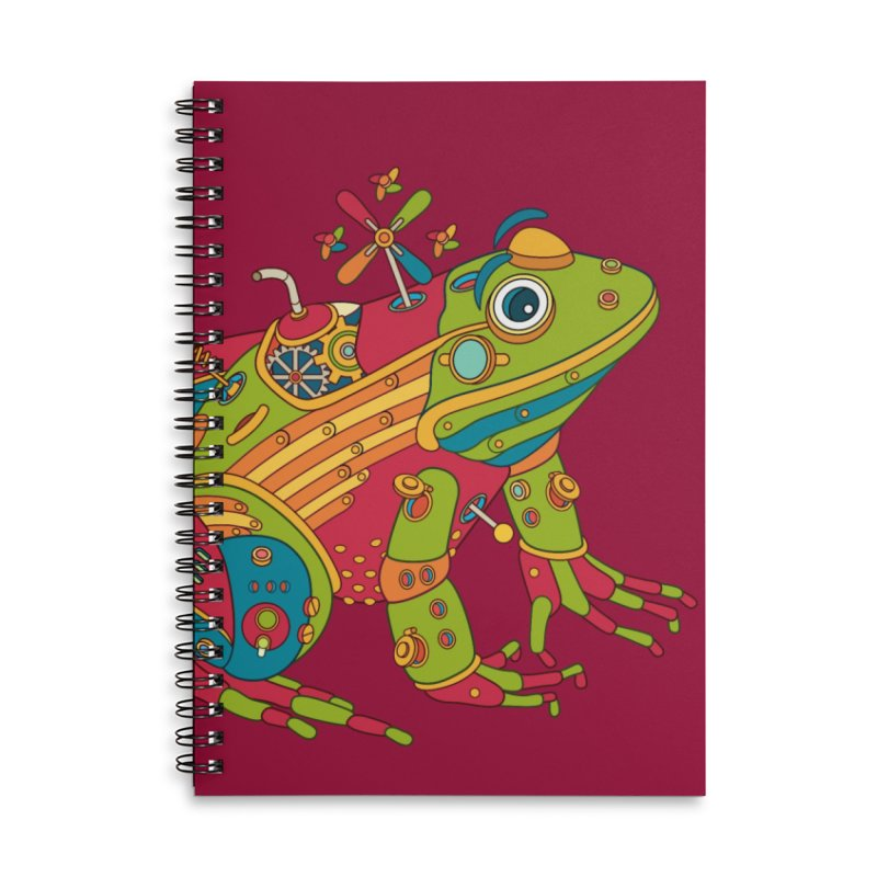 Frog, cool art from the AlphaPod Collection Accessories Lined Spiral Notebook by AlphaPod