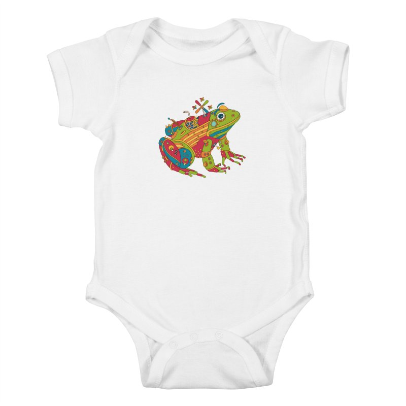 Frog, cool art from the AlphaPod Collection Kids Baby Bodysuit by AlphaPod