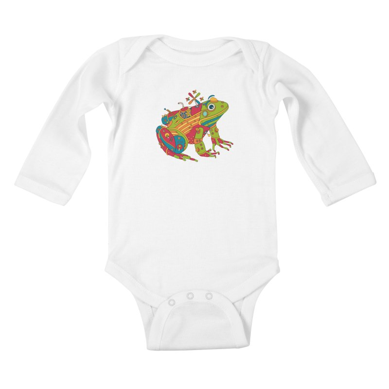 Frog, cool art from the AlphaPod Collection Kids Baby Longsleeve Bodysuit by AlphaPod