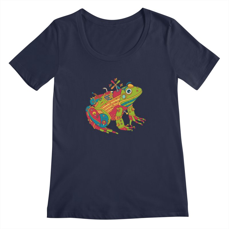 Frog, cool art from the AlphaPod Collection Women's Scoopneck by AlphaPod