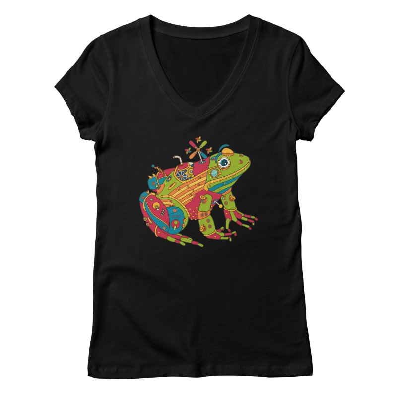 Frog, cool art from the AlphaPod Collection Women's V-Neck by AlphaPod
