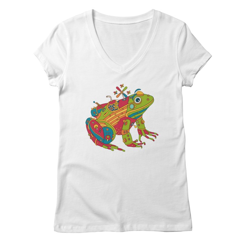 Frog, cool art from the AlphaPod Collection Women's Regular V-Neck by AlphaPod