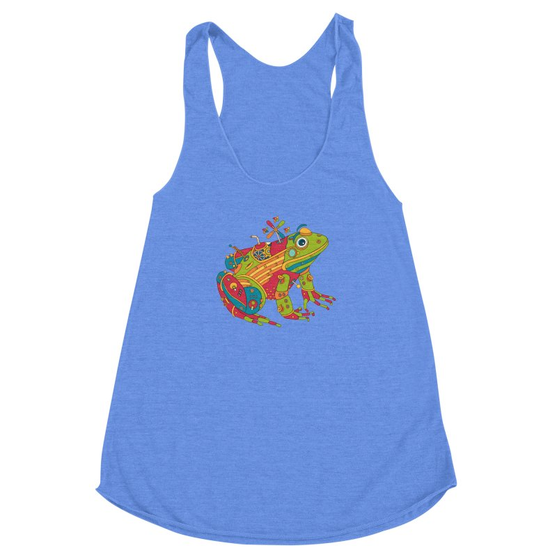 Frog, cool wall art for kids and adults alike Women's Racerback Triblend Tank by AlphaPod