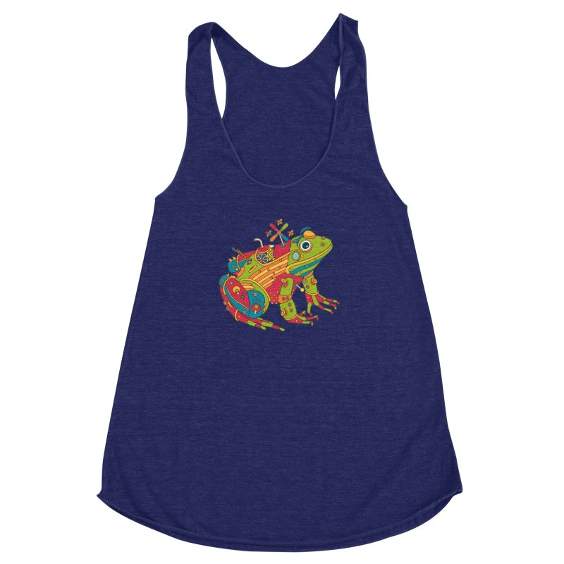 Frog, cool art from the AlphaPod Collection Women's Racerback Triblend Tank by AlphaPod