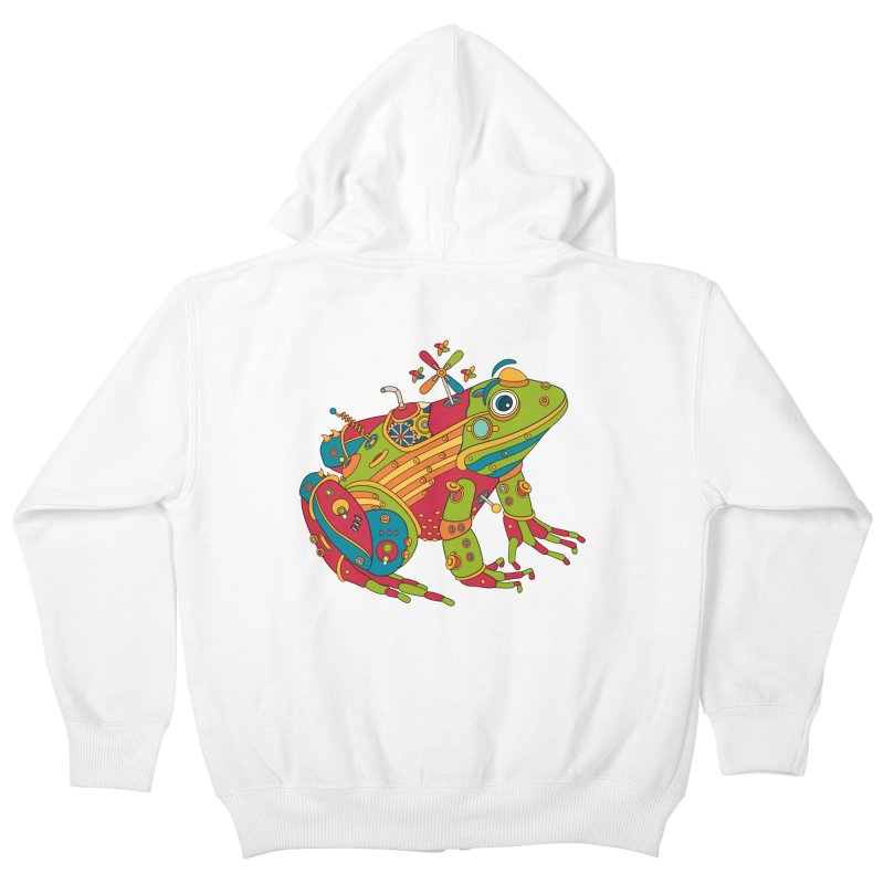 Frog, cool wall art for kids and adults alike Kids Zip-Up Hoody by AlphaPod