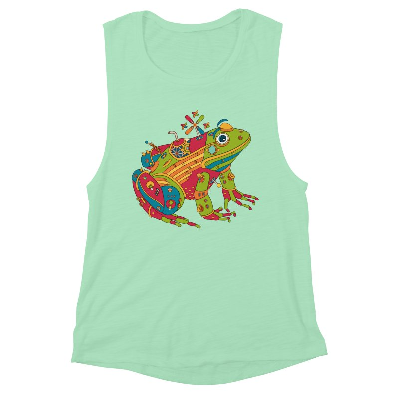 Frog, cool art from the AlphaPod Collection Women's Muscle Tank by AlphaPod