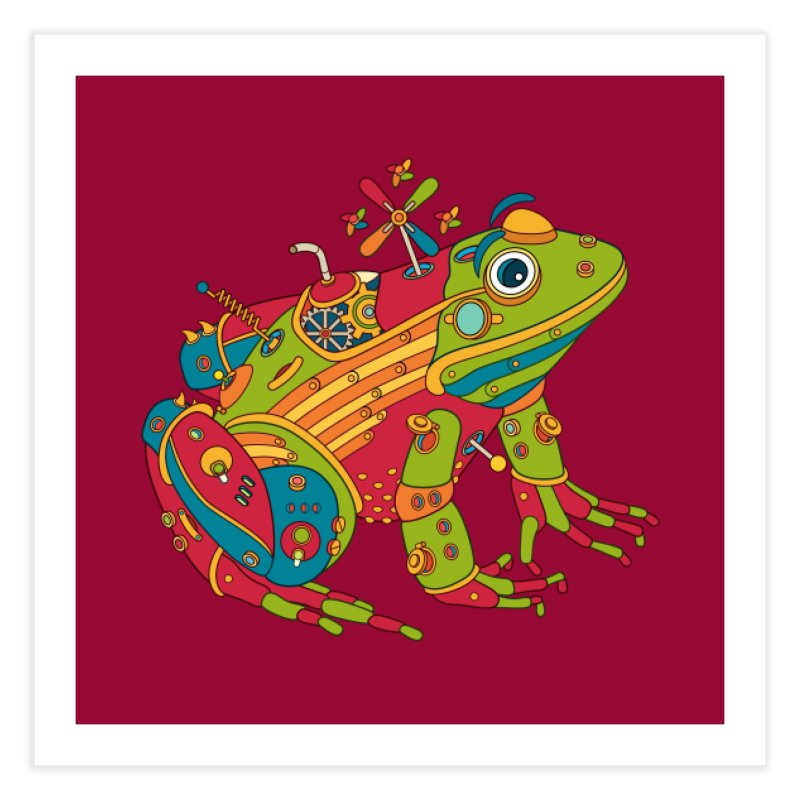 Frog, cool art from the AlphaPod Collection Home Fine Art Print by AlphaPod
