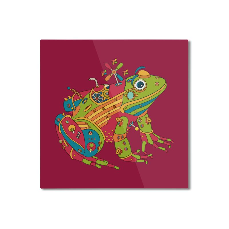 Frog, cool wall art for kids and adults alike Home Mounted Aluminum Print by AlphaPod