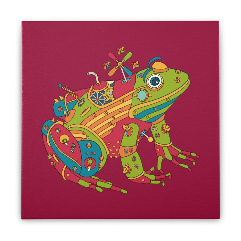Frog, cool wall art for kids and adults alike Home Stretched Canvas by AlphaPod