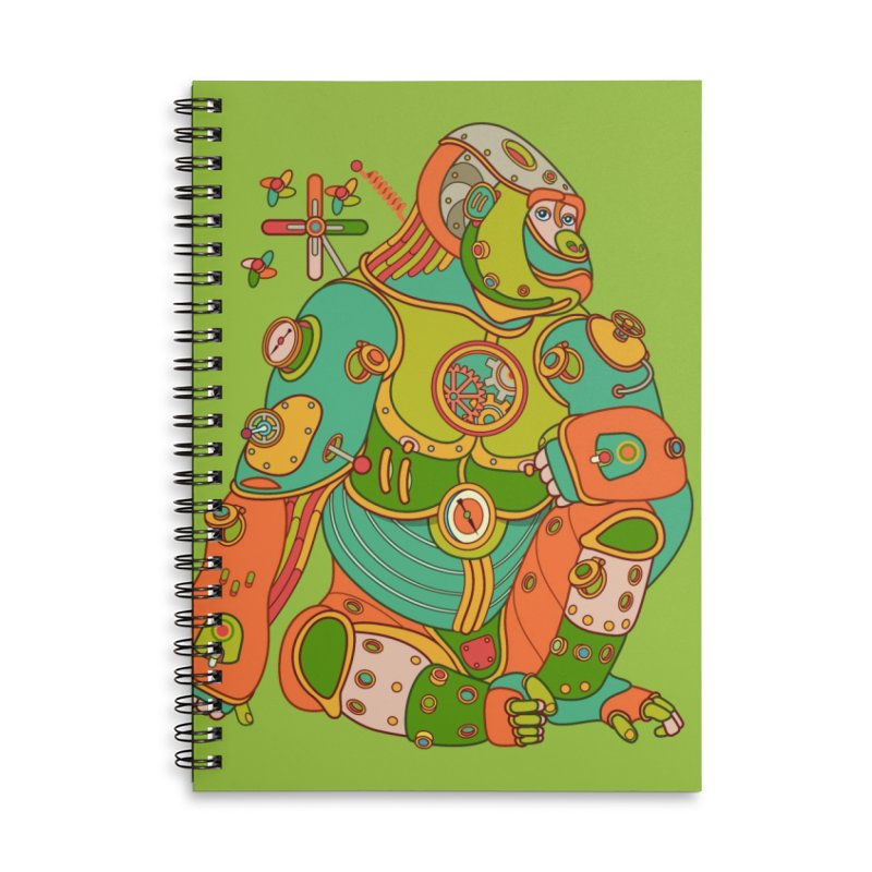 Gorilla, cool art from the AlphaPod Collection Accessories Lined Spiral Notebook by AlphaPod