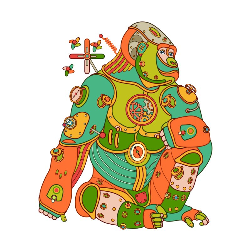 Gorilla, cool art from the AlphaPod Collection Women's Zip-Up Hoody by AlphaPod