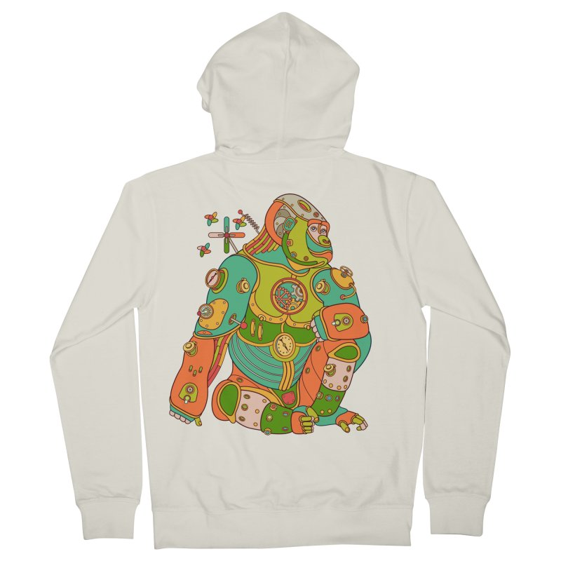 Gorilla, cool art from the AlphaPod Collection Men's Zip-Up Hoody by AlphaPod