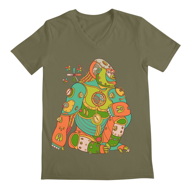 Gorilla, cool art from the AlphaPod Collection Men's V-Neck by AlphaPod