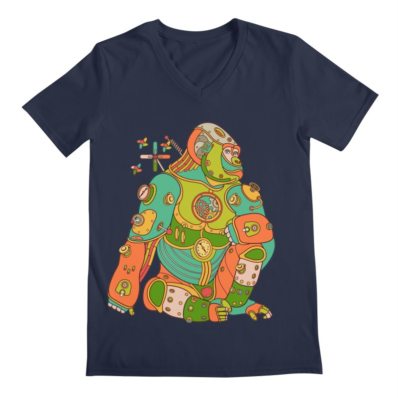 Gorilla, cool wall art for kids and adults alike Men's V-Neck by AlphaPod