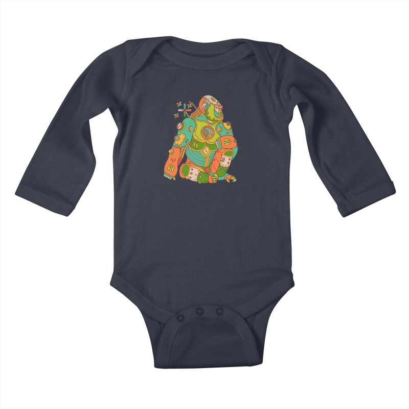 Gorilla, cool art from the AlphaPod Collection Kids Baby Longsleeve Bodysuit by AlphaPod
