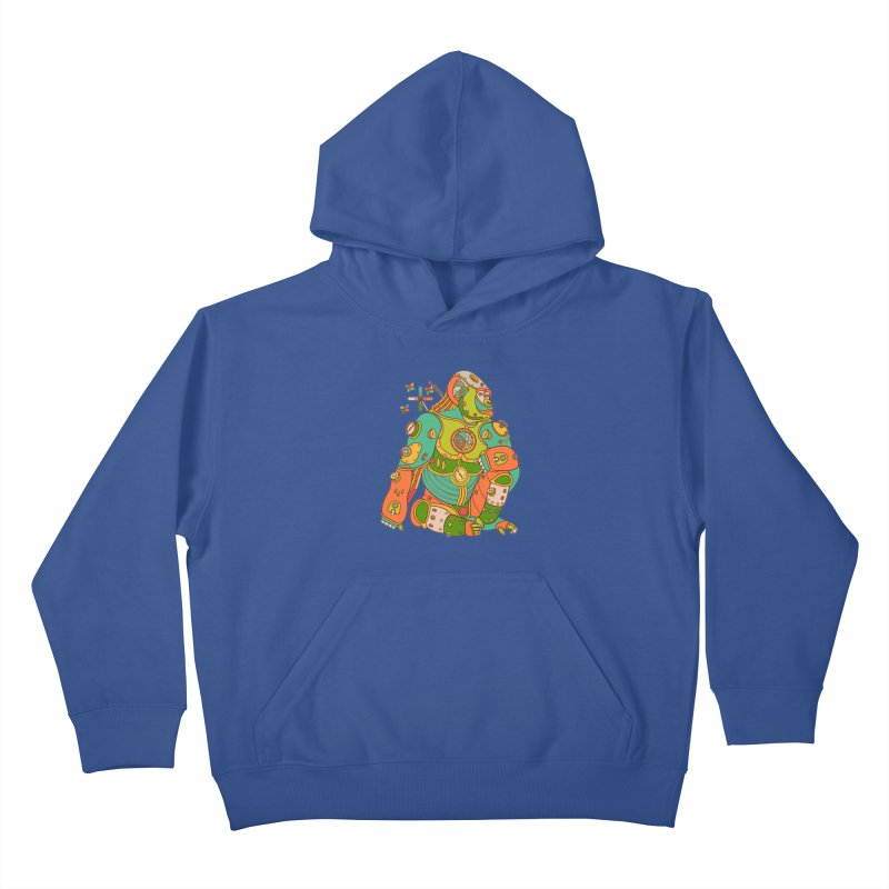 Gorilla, cool wall art for kids and adults alike Kids Pullover Hoody by AlphaPod
