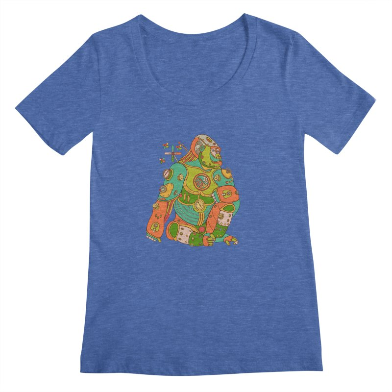 Gorilla, cool wall art for kids and adults alike Women's Scoopneck by AlphaPod