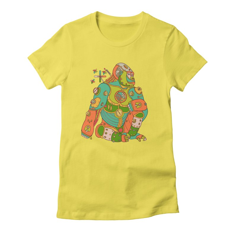 Gorilla, cool wall art for kids and adults alike Women's Fitted T-Shirt by AlphaPod