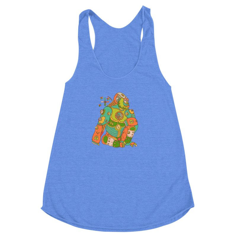 Gorilla, cool wall art for kids and adults alike Women's Racerback Triblend Tank by AlphaPod