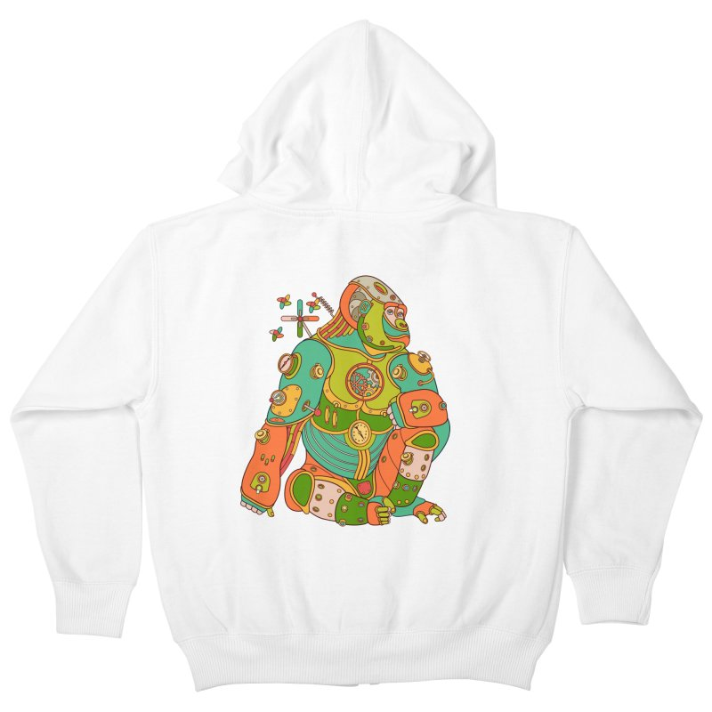 Gorilla, cool wall art for kids and adults alike Kids Zip-Up Hoody by AlphaPod