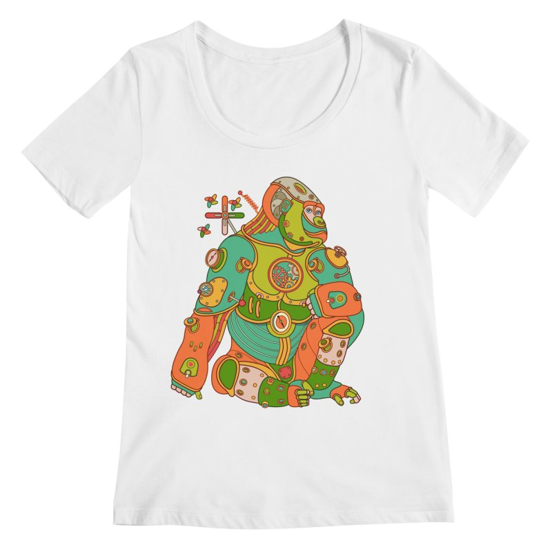 Gorilla, cool art from the AlphaPod Collection Women's Scoopneck by AlphaPod