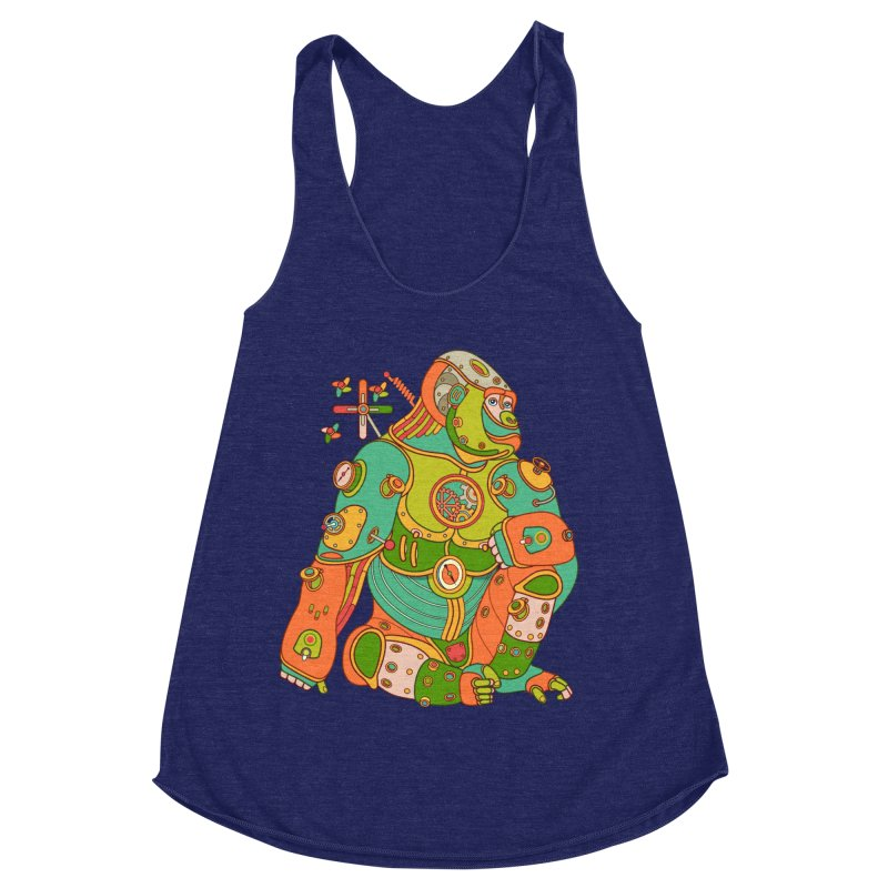 Gorilla, cool art from the AlphaPod Collection Women's Racerback Triblend Tank by AlphaPod