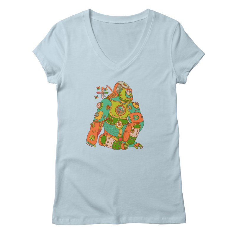 Gorilla, cool art from the AlphaPod Collection Women's V-Neck by AlphaPod