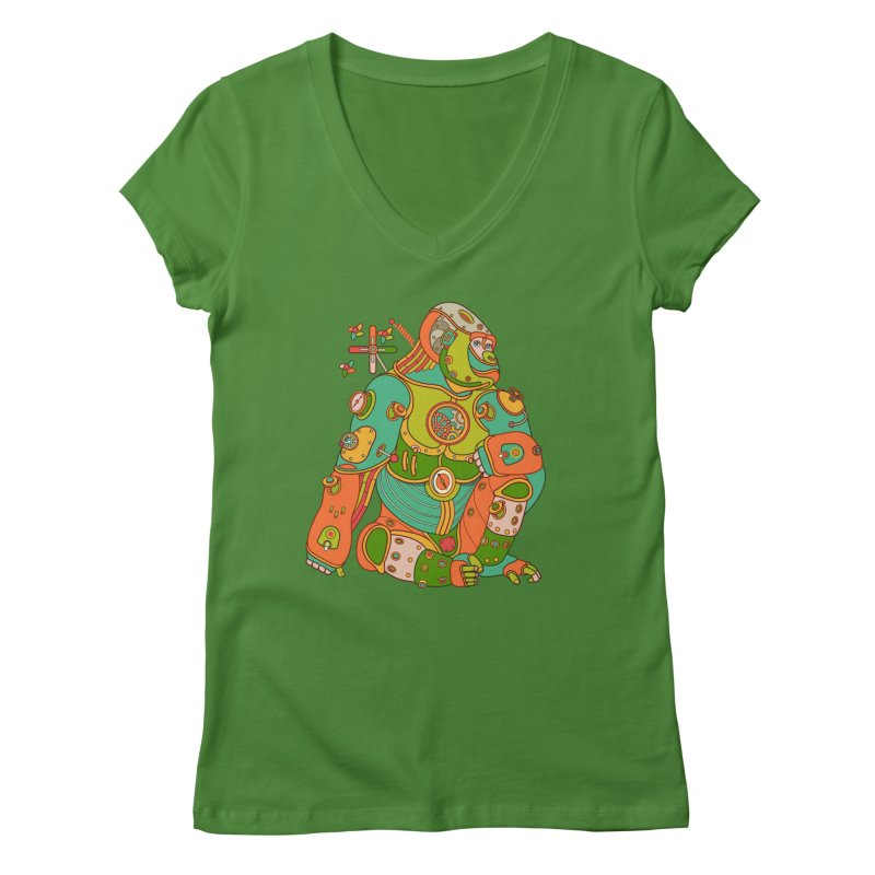 Gorilla, cool art from the AlphaPod Collection Women's Regular V-Neck by AlphaPod