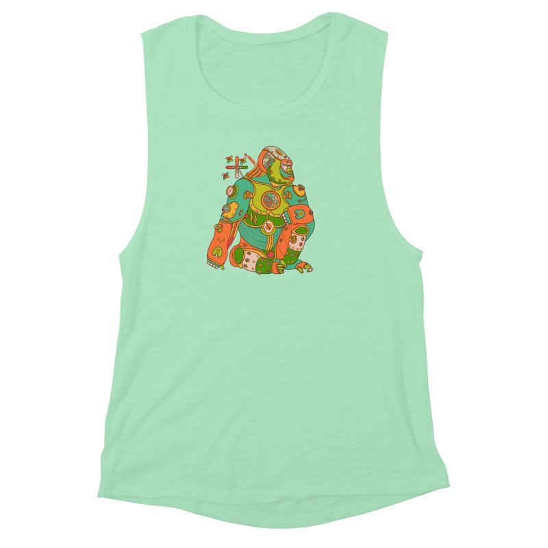 Gorilla, cool art from the AlphaPod Collection Women's Muscle Tank by AlphaPod